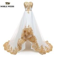 NOBLE WEISS vestido de noche de pedrería sin tirantes alto bajo, dorado, Organza, hecho a medida