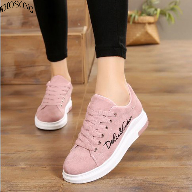 WHOSONG New Fashion Women Vulcanize Shoes Casual Shoes Spring Platform Ladies Shoes Lace-up Sneakers Zapatos Tenis Feminino M190