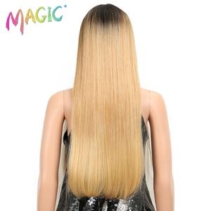 Image 4 - קסם שיער ארוך סינטטי חזית תחרת פאות עבור נשים שחורות 28 אינץ צהוב ישר פאה עבור נשים סיבי טמפרטורה גבוהה שיער
