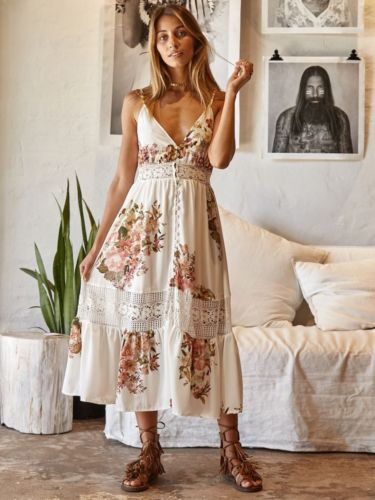Womens Summer Boho Maxi Floral Dress Evening Party Beach Dresses Sundress
