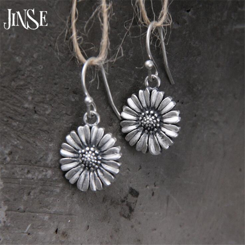JINSE 925 Sterling Silver Vintage Sunflowers Dangle Earrings for Women Elegant Handmade Drop Earring Jewelry 14mm