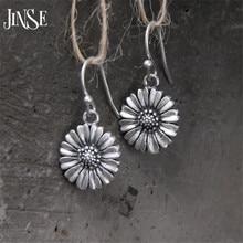 JINSE 925 Sterling Silver Vintage Sunflowers Dangle Earrings for Women Elegant Handmade Drop Earring Jewelry 14mm