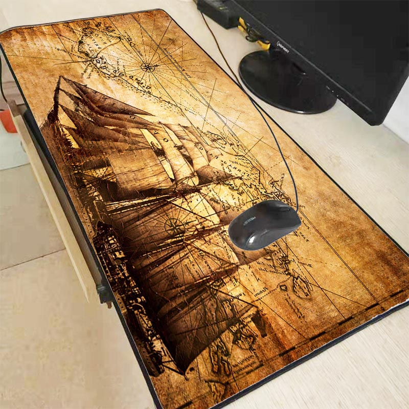 Mairuige Old ship with Map Large Gaming Mouse Pad Gamer Lock Edge Keyboard Mouse Mat Gaming Desk Mousepad for CS GO Dota Game 1