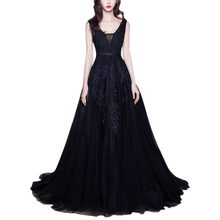 Elegant Women Lace Applique Dress for Wedding Bridesmaid Tulle Long Formal Party Dress Vintage Backless Dress for Photo Shoot(China)