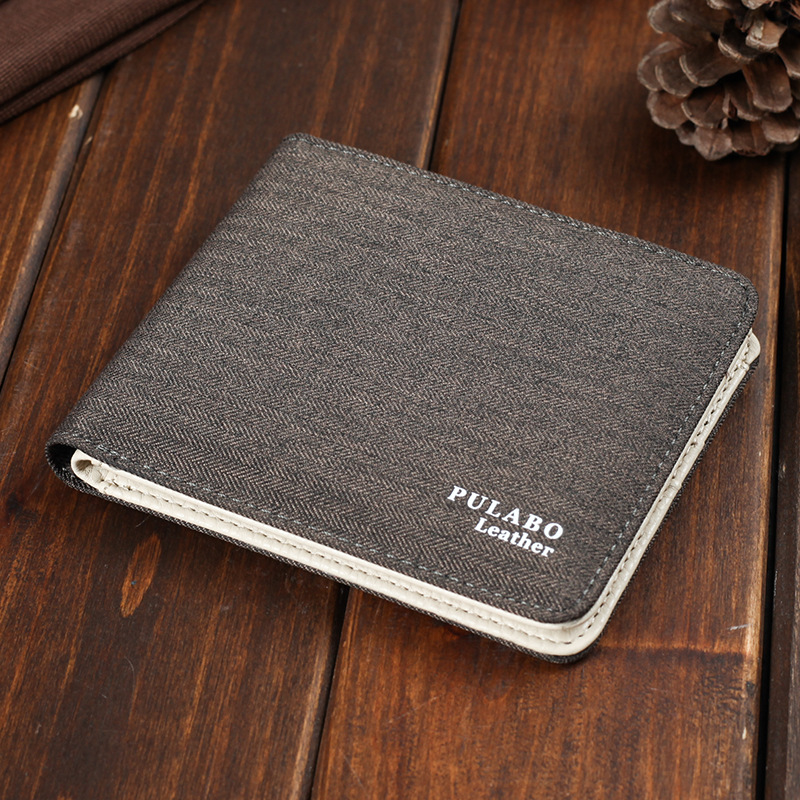 2017 Hot Sälj! Mens Short Denim Fabric Wallet Bästa Soft Canvas Purse Bifold Mode Ultra-tunn Male Wallet Casual Money Bag