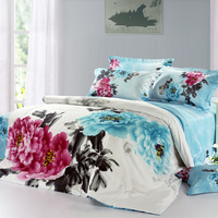 Chinese Ink Painting Style Bedding Set Pink Blue Flower Duvet Cover Pillowcase Bed Sheet 100 Cotton