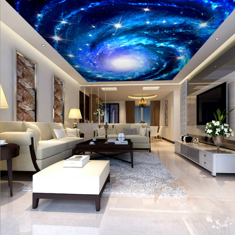 Custom large custom ceiling KTV Star Hotel bar non-woven 3D wallpaper 3D fantasy theme ceiling fresco large mural wallpaper wallpaper theme hotel theme hotel bar club star monroe ktv