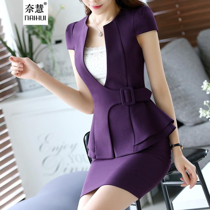 59b17dbadf83 2 Pièce Costume De Mode mince femmes jupe de costume vêtements de travail  formelle à manches courtes ruches ceinture Décoratif blazer jupe