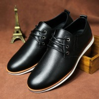 Men Business Shoes 2016 European Fashion Design Men Shoes Spring Black Flats Lace Up Genuine Leather