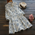 2017 mujeres del resorte sweet suave versión botón decorativo tie dress vestidos impresión de la flor retro vintage vestidos de algodón u660