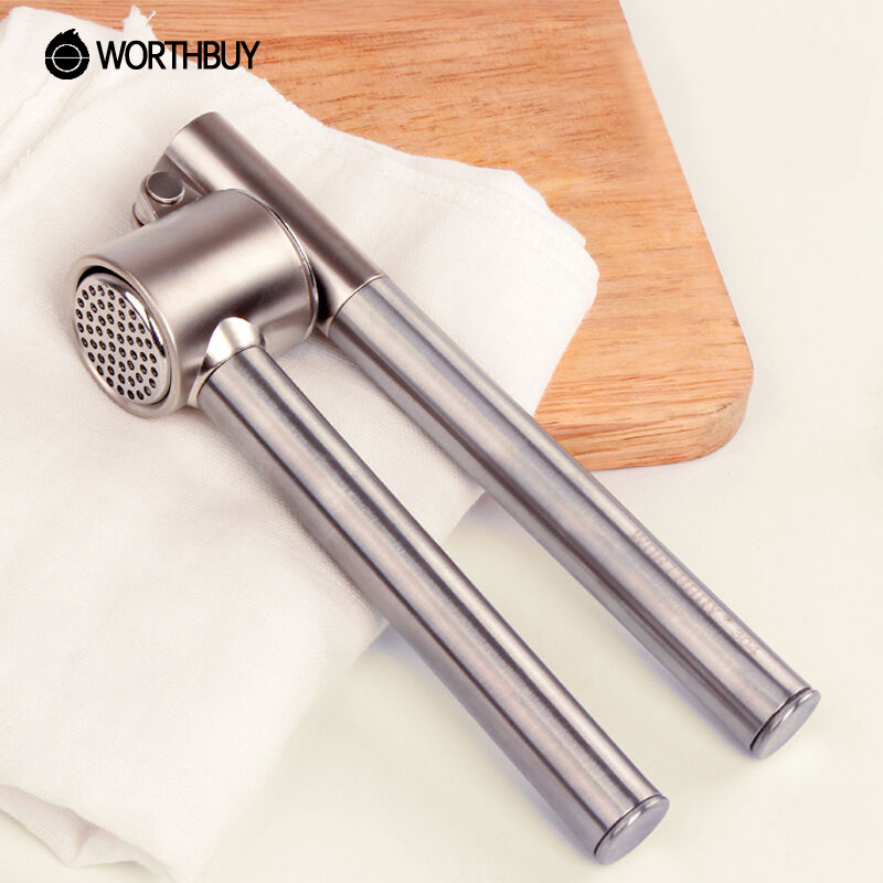 304 Stainless Steel Garlic Presses Thickened Circular Handle Ginger Crusher Chopper Kitchen Utensils Food Fruit Vegetable Tools