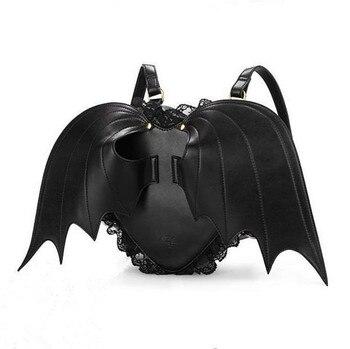 2019 New Lovely Black Bat Wings Angel School Backpack For Women Teenage Girl Backpack Ladies Mochila Feminina Devil Punk Stylish