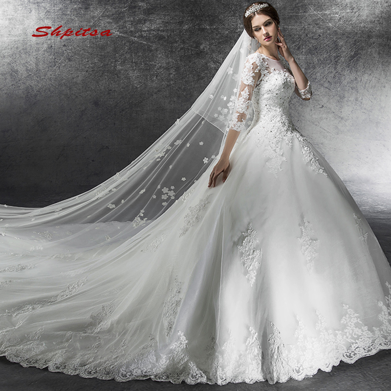Long Sleeve Lace Wedding Dresses Ball Gown Sequin Wedding