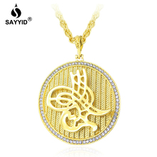 SAYYID New Design Turkey Yellow gold Necklace Round Pendant Inlaid rhinestone Necklace for Arabian Unisex Large Necklace stock trendy rhinestone inlaid letter round pendant necklace for lovers