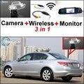 3 in1 Câmera Sem Fio + Receptor + Monitor Espelho Especial fácil Sistema De Estacionamento Para Honda Accord Para 8 MK8 Inspirar 2008 ~ 2013