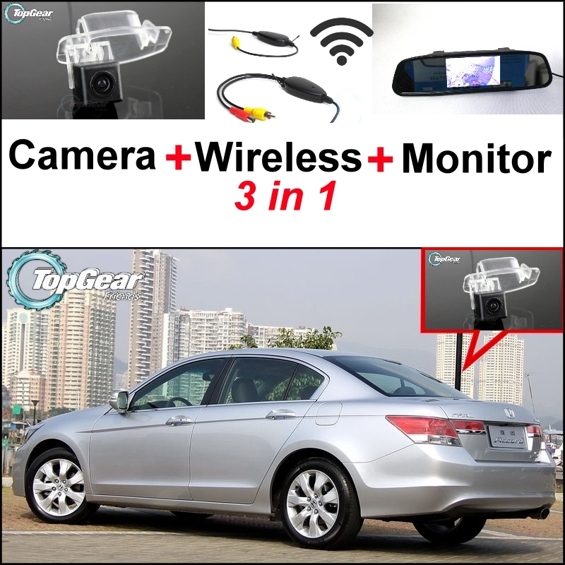 Фотография 3 in1 Special Camera + Wireless Receiver + Mirror Monitor Easy Parking System For Honda For Accord 8 MK8 Inspire 2008~2013