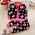 2016 Autumn Winter Baby Girls Boys Clothing Sets Cartoon Flower Warm Clothes Set Cardigan Coat + Pants Sets V30