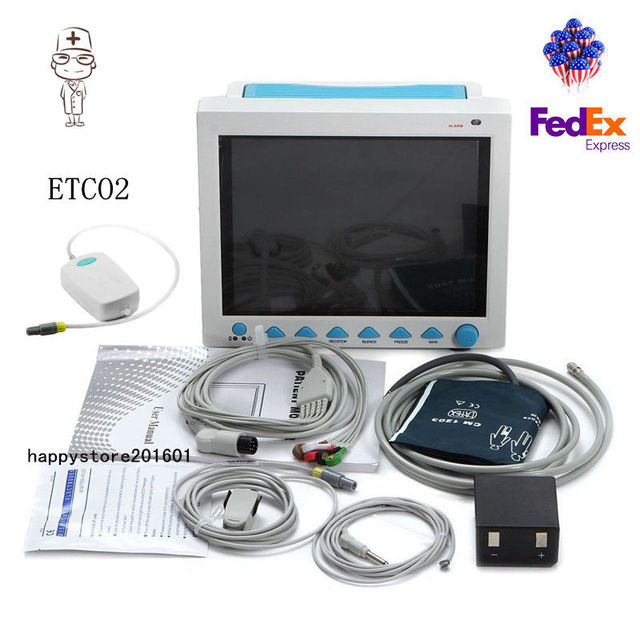 FDA CO2 Monitoring ICU CCU Patient Monitor Vital Signs Monitor with ETCO2, US