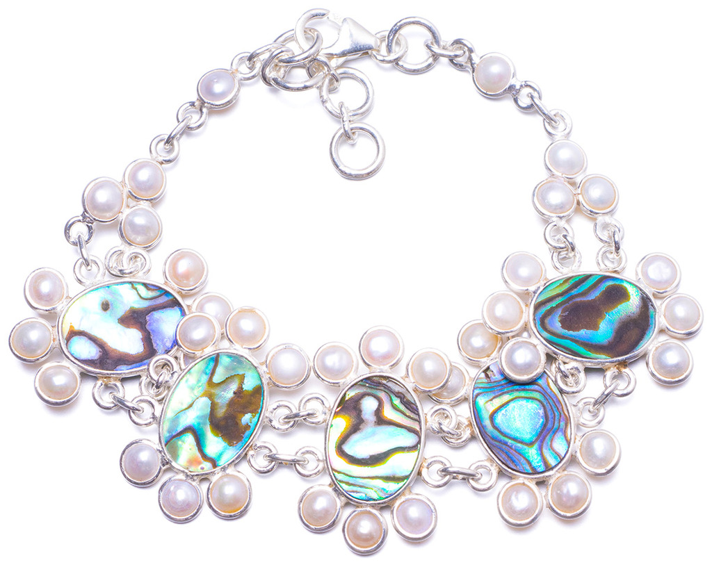 Natural Abalone Shell and River Pearl Handmade Unique 925 Sterling Silver Bracelet 7 1/4-8 1/4
