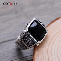 100% Echte Pure 925 Sterling Zilveren Sieraden Zilveren Ringen Voor Mannen Retro Hexagram Crown Gegraveerd Vierkante Natuursteen Black Onyx