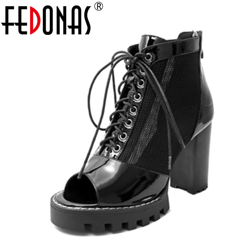 FEDONAS Punk Lace up Shoes Woman Thick High Heels 2020 Spring Summer Pumps Sexy Black Platforms