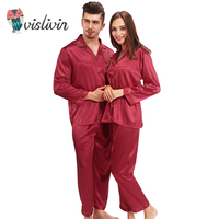 Vislivin Silk Pajamas Women Long Sleeve Solid Satin Pyjamas Men Love Sleepwear Woman S Lounge Couples