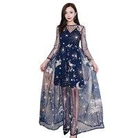 Sexy Shining sequins Xem qua Womens Dress Lưới Spaghetti Strap Dài Đêm clubwear đảng Dresses OM213