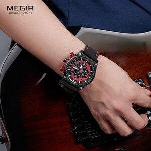 Image 4 - Megir montre bracelet, chronographe pour hommes, lumineuse, étanche, avec bracelet en caoutchouc, pour garçons et garçons 2051G 1N8