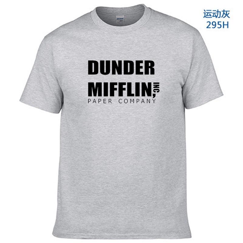 2019 Mannen Korte Mouw Kantoor Tv Show Dunder Mifflin Papier T-shirt Crew Neck Tee Shirts Voor Mannen