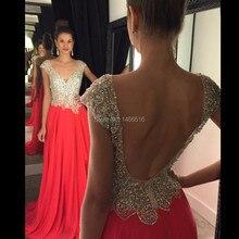 Moda Seksi Backless Cap Sleeve Boncuklu Şifon Uzun Abiye 2016 Uzun Parti Elbise vestido de festa longo 030512 W