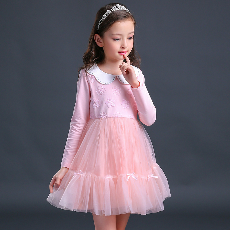 Hot Sale Teenaage Girls Long Sleeve Pink Blue Lace Dress Cute 2017 Autumn Baby Girls Princess Dresses Vestidos  10 11 12 13 14 T hot sale girls long sleeve dress cute rabbit and flowers printed 2017 winter autumn baby girl dresses princess vestidos yy2234