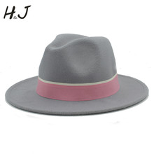 9d9eaff0c6685 Women Men Wool Fedora Hat For Lady Winter Autumn Chapeu Feminino Cloche  Wide Brim Jazz Church