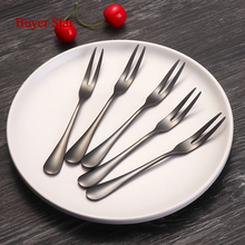 4pcs Set Cheap Cutlery Eco friendly Fruit Fork Set Table Steel Small Salad Fork Party Dinner