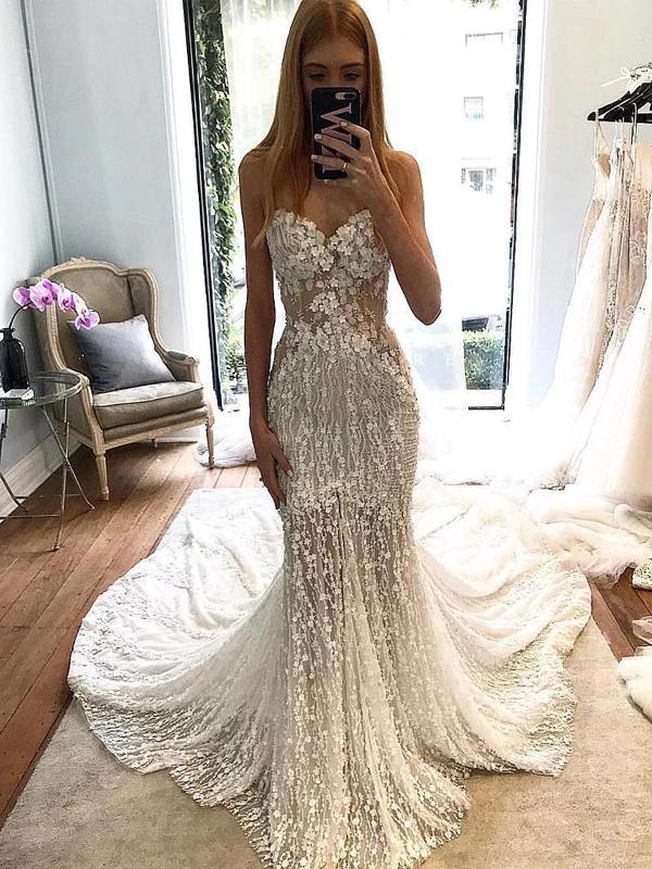 2019 Eslieb Luxury Long Sleeves Lace Party Mermaid Muslim Bridal Wedding Dress Custom Made High Quality Robe De Mariee HA055