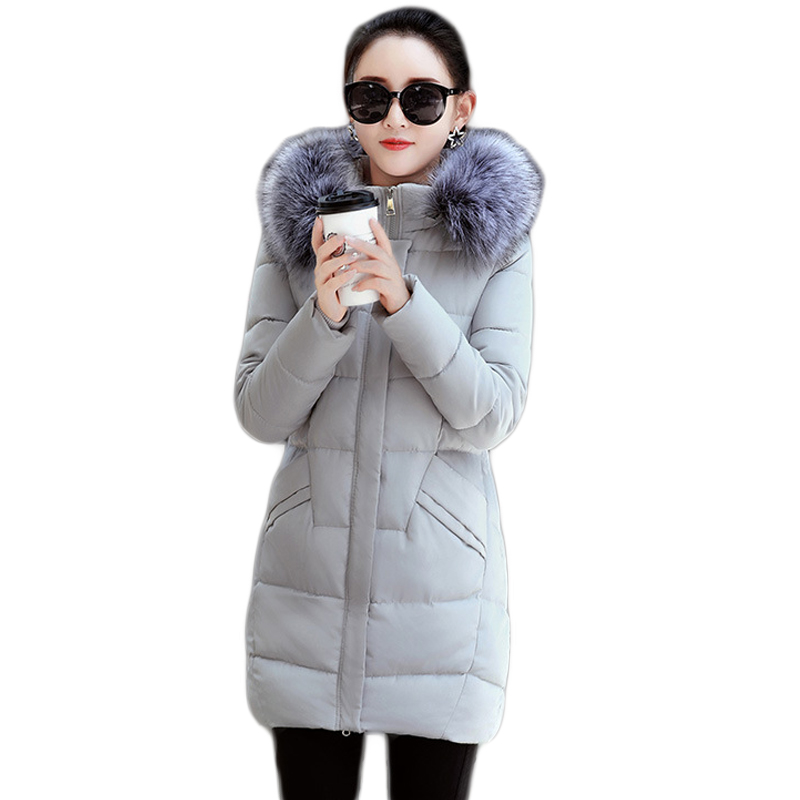 New 2017 Winter Cotton Coat Women Slim Outwear Medium-long Padded Jacket Thick Fur Hooded Wadded Warm Parkas Winterjas CM1628 2017 women winter jacket new fashion cotton padded long hooded coat parkas female wadded outwear fur collar slim warm parkas
