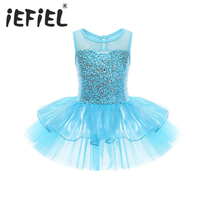 3c9e20e57 Sequins Children Girls Dancer Leotard Ballet Tutu Dress Kids Dance ...