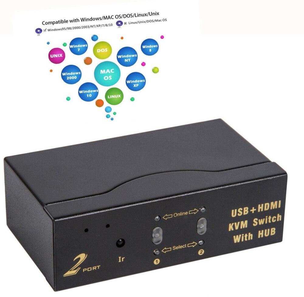 Computer-peripheriegeräte Usb Hdmi Kvm Schalter Hub Multi-computer 2 Port 2 In 1 Schalter Schalter Automatische Scan Schalter 1080 P 1,4 Hdmi Version Mit Audio Computer & Büro