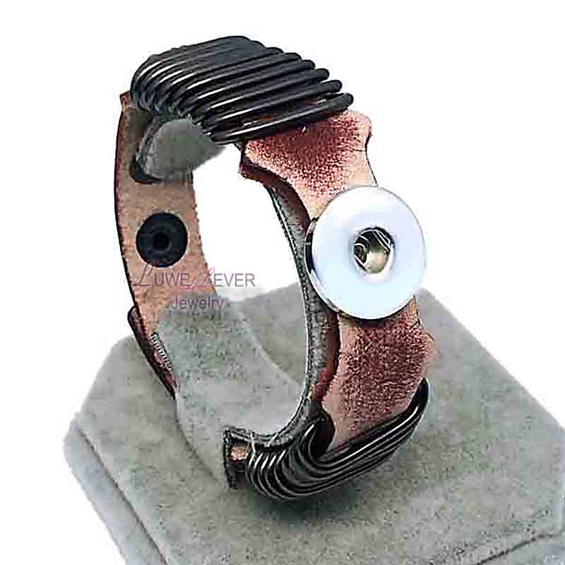 High quality 144 Rock punk Genuine Leather Retro Bracelet Snap Button Jewelry Charm Jewelry For Women men (fit 18mm button) цена