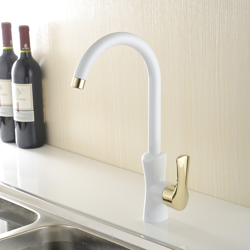 Kitchen Faucets White Gold plating Modern Taps High Arch Brass Crane Deck Mounted Basin Water 360