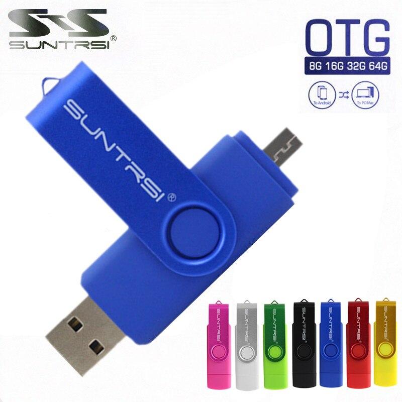Suntrsi Smart Phone USB Flash Drive Metal Pen Drive 128gb 64gb 32gb16gb  OTG External Storage Micro Usb Memory Stick Flash Drive