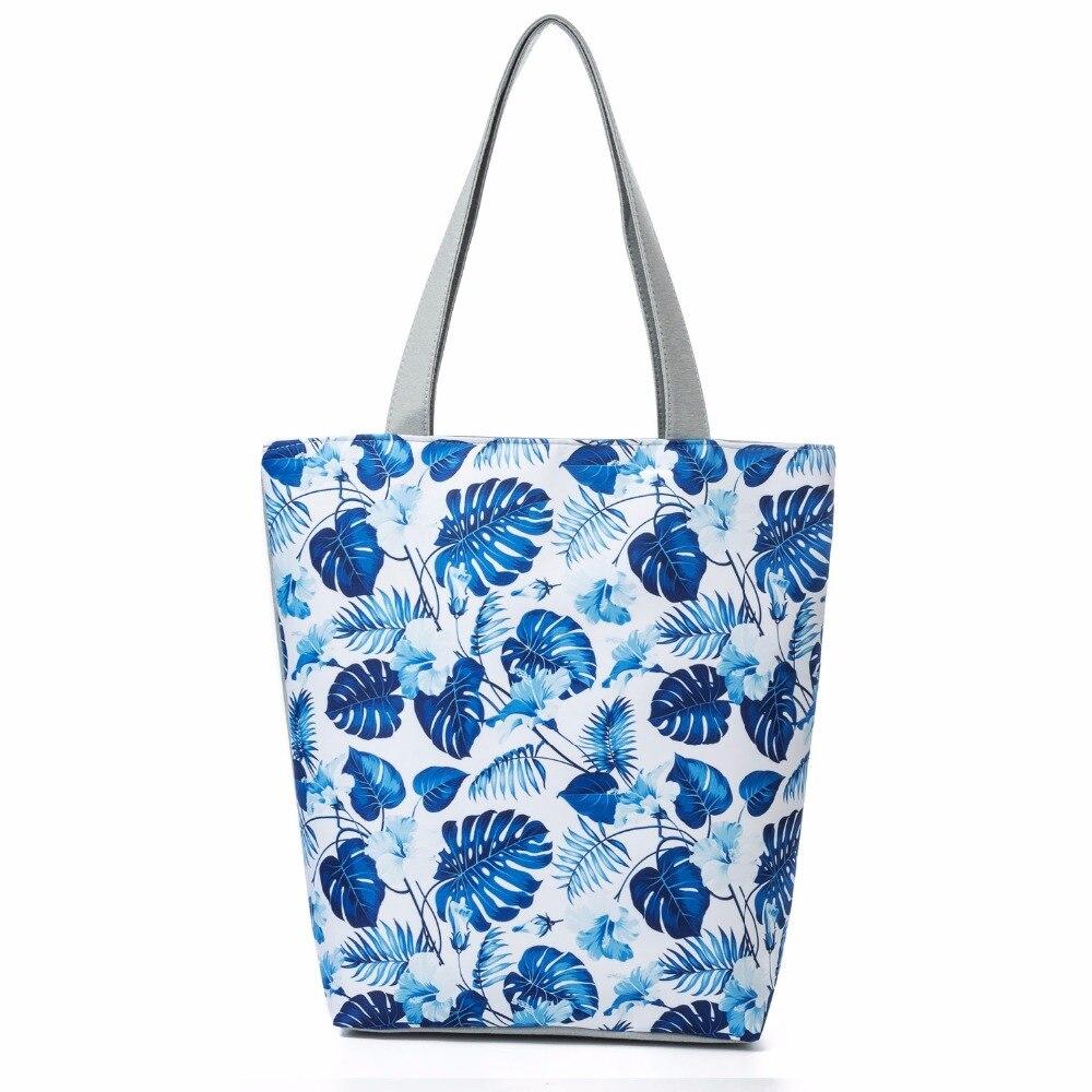 2019 polyester durable national style shopping bag Tote pouch handbag printing big capacity storage bag zipper item organizer