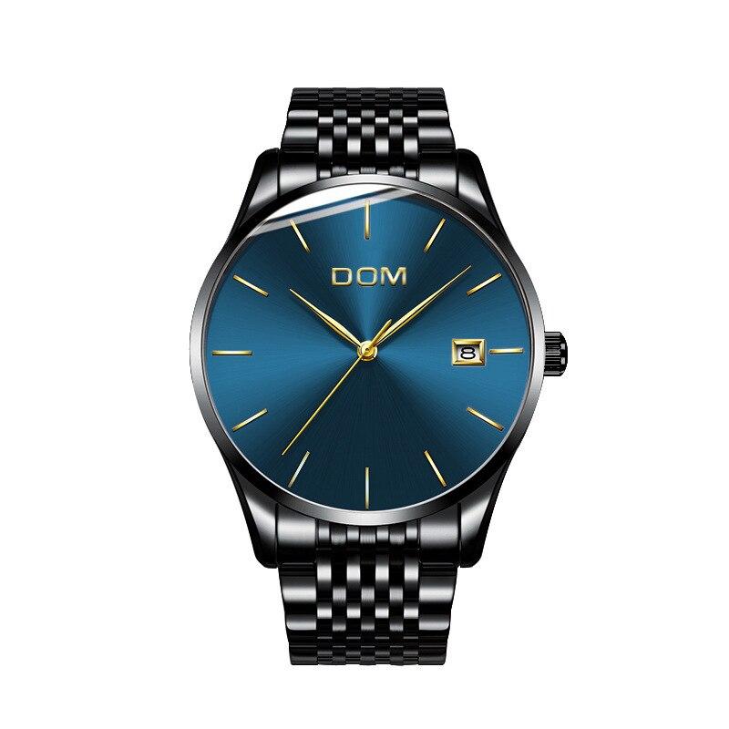 Деловые мужские кварцевые часы из нержавеющей стали Мужские часы DOM Роскошные брендовые наручные часы водонепроницаемые часы Citizen movement