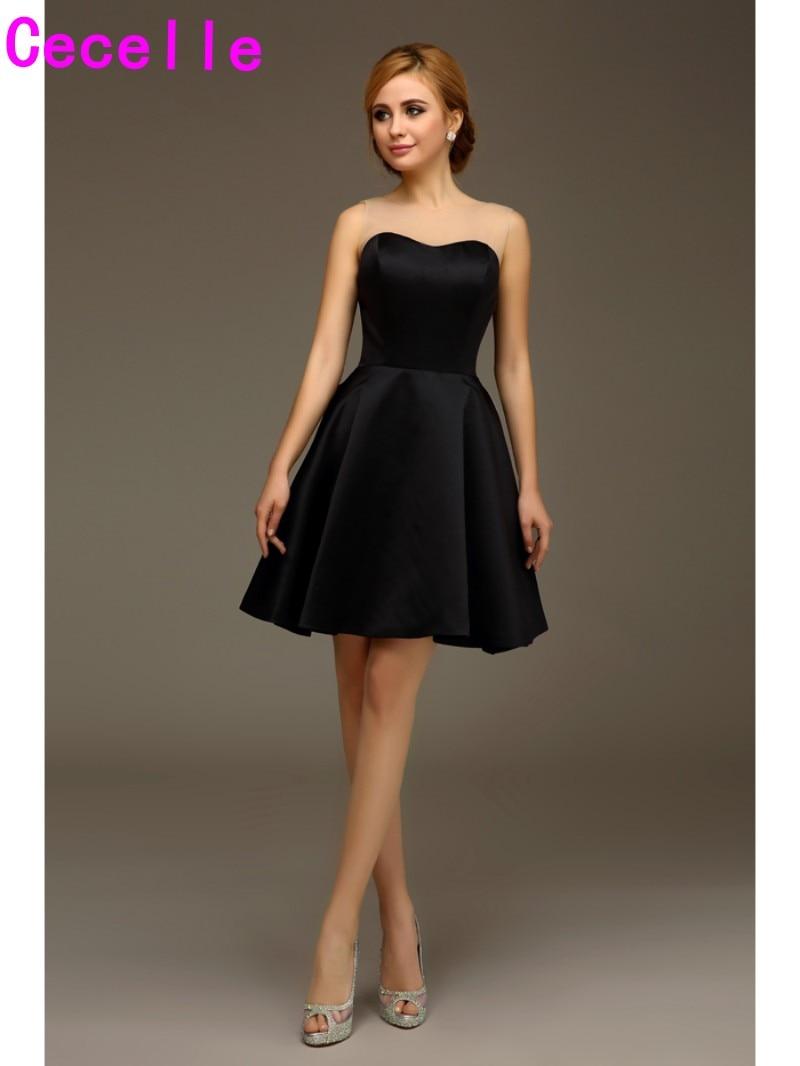 2016 Simple Short Black Satin Bridal Bridesmaids Dresses