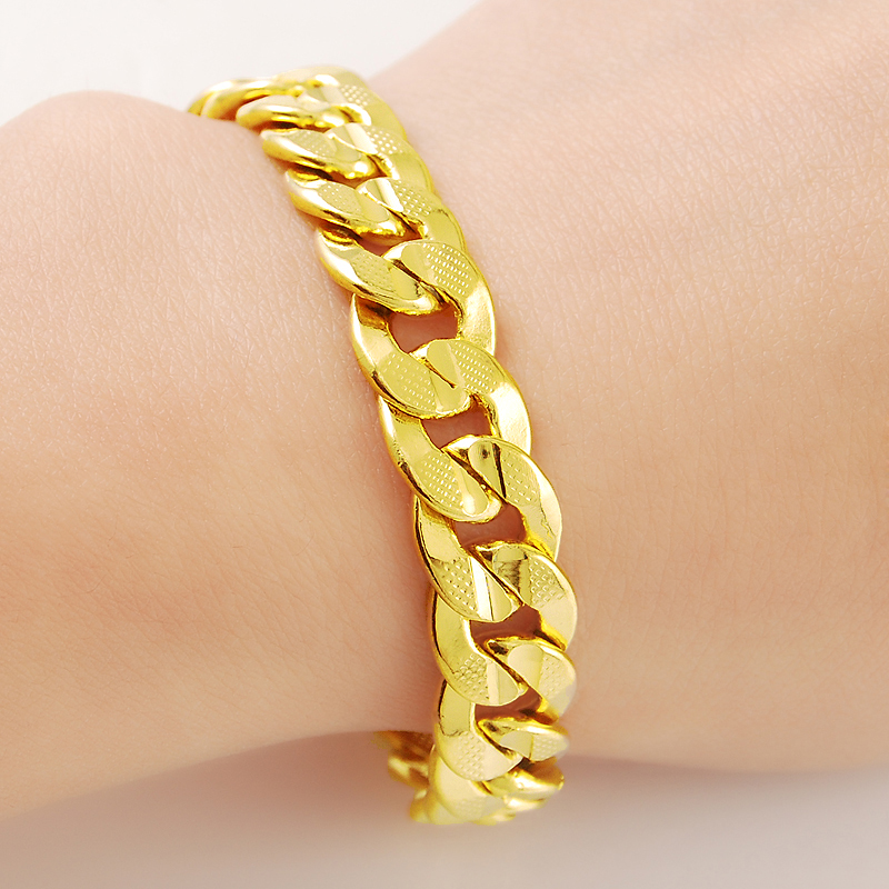 Men 39 s Women 39 s Fashion 24K Yellow Gold Plating Link Chain Bracelet for Luxury Party Hiphop Jewelry Wedding Accessories Gifts in Charm Bracelets from Jewelry amp Accessories