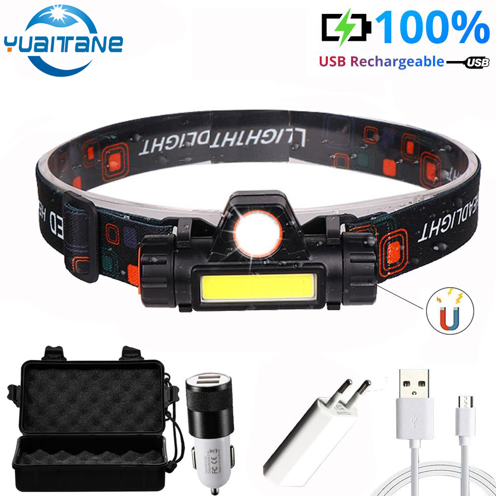 Super Bright LED Headlight Outdoor Camping Portable Q5+COB With Magnet LED Headlamp USB Charging Built-in 18650 Flashlight