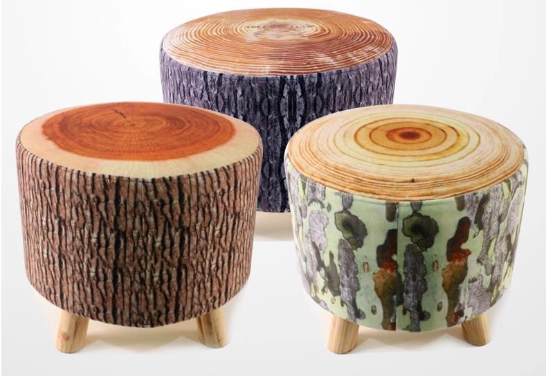 living room stools. Creative wood stool 3D Flannelette small sofa bar Pastoral  leisure footstool Japanese Antique Wooden Stool Bench Paulownia Wood Asian Traditional