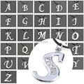 Hot Silver Cristal Rhinestone AZ Alfabeto Charme Letra Inicial Pingente Colar de Corda Cadeia de Moda Mulheres Homens Jóias