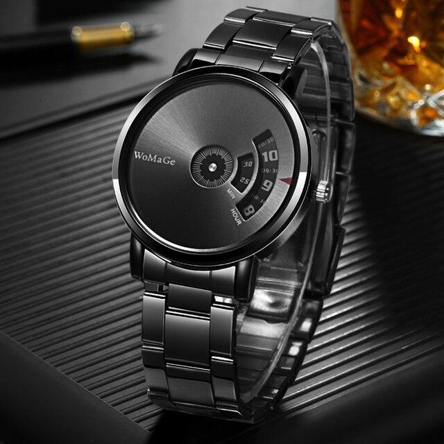 Black Stainless Steel Quatrz Watches Men 1