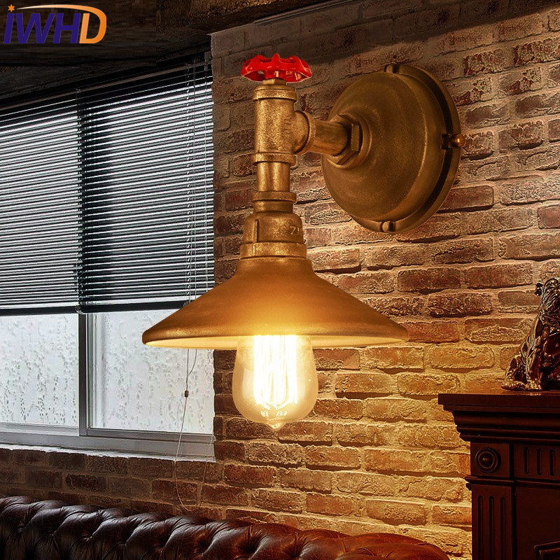 IWHD Retro Loft Style Antique Water Pipe Lamp Industrial Edison Wall Sconce LED Vintage Wall Light Fixtures Indoor Lighting loft style iron edison wall sconce industrial lamp wheels vintage wall light fixtures antique indoor lighting lampara pared