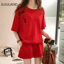 JUJULAND 2019 summer new two piece set top and shorts short sleeve t shirt o neck solid red gray pink  knitting fashion suit